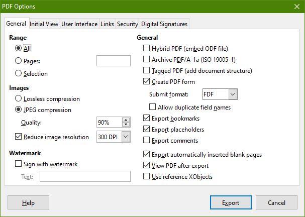 Export PDF Dialog