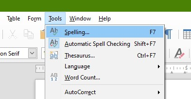 LibreOffice Spelling Menu Item