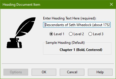 Heading Document Item