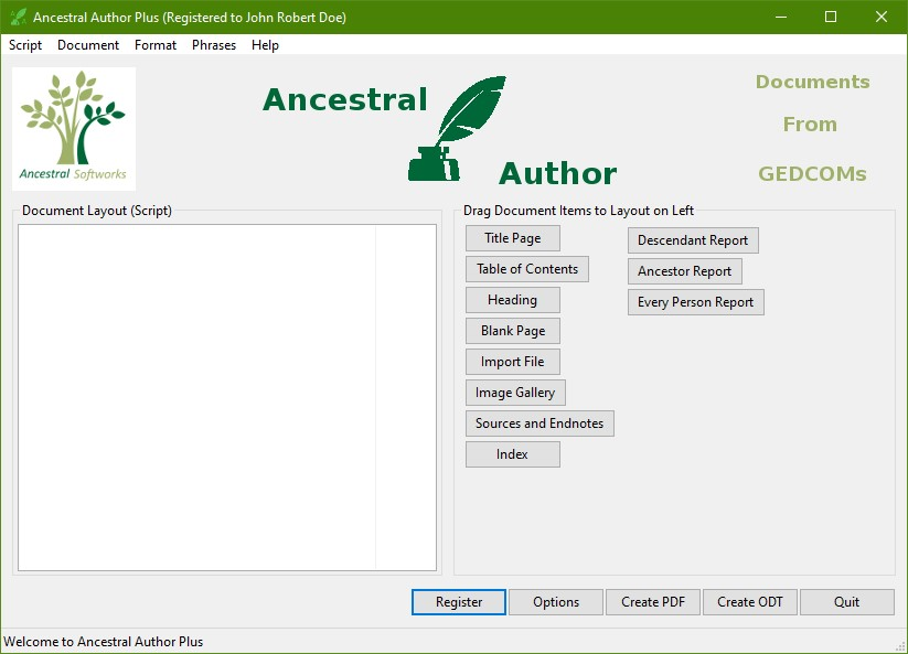 Ancestral Author Plus Starter Screen