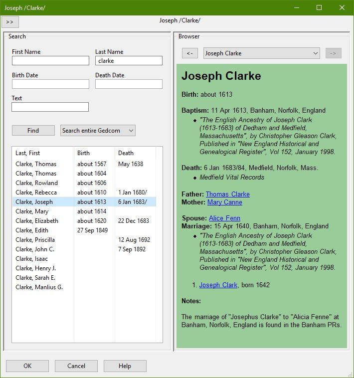 GEDCOM Browser Dialog